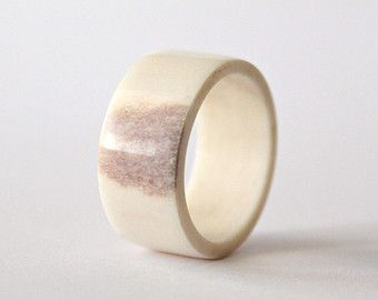 Men's wide antler ring, antler weddingband for him, antler jewelry for him, sami jewelry