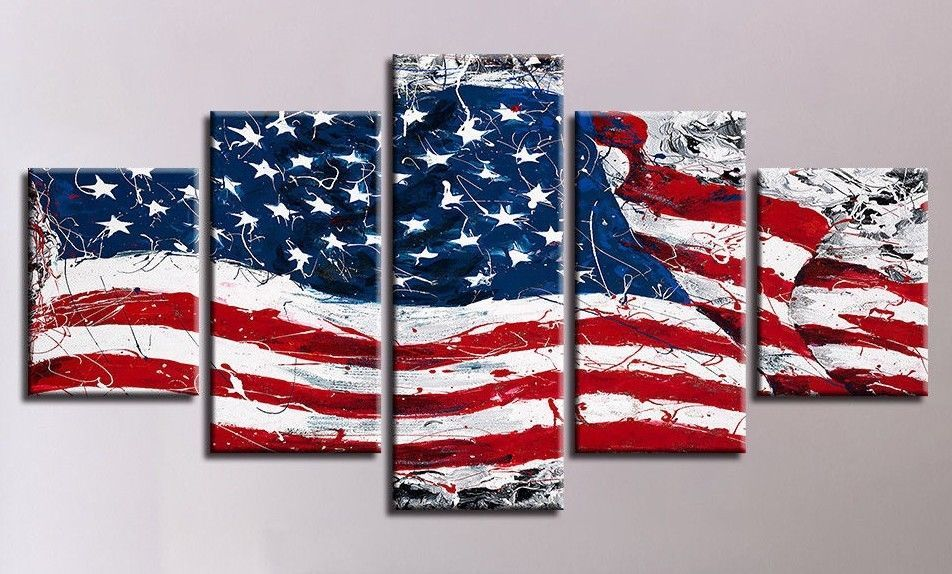 Abstract American Flag 5pcs Oil Painting Printed Canvas Wall Art Home Decorative Unbranded Artdeco Canvas Wall Art Canvas Art Painting Art