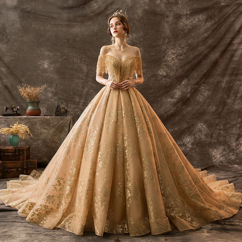Luxury / Gorgeous Gold Wedding Dresses 2019 Ball Gown Off-The-Shoulder Beading Tassel Lace Flower Sequins Short Sleeve Backless Royal Train