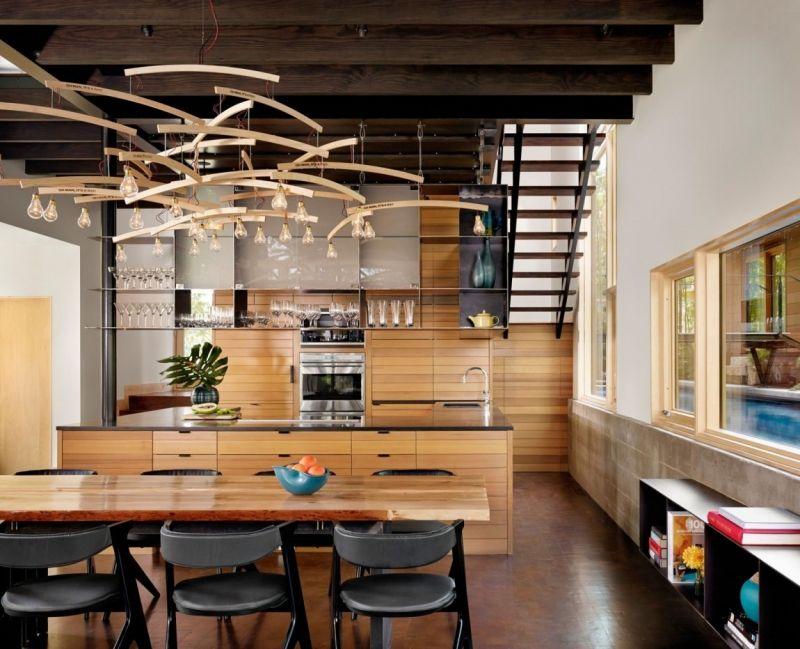 Cuisine rustique contemporaineu2013 50 idées de meubles en bois - holz stahl interieur junggesellenwohnung