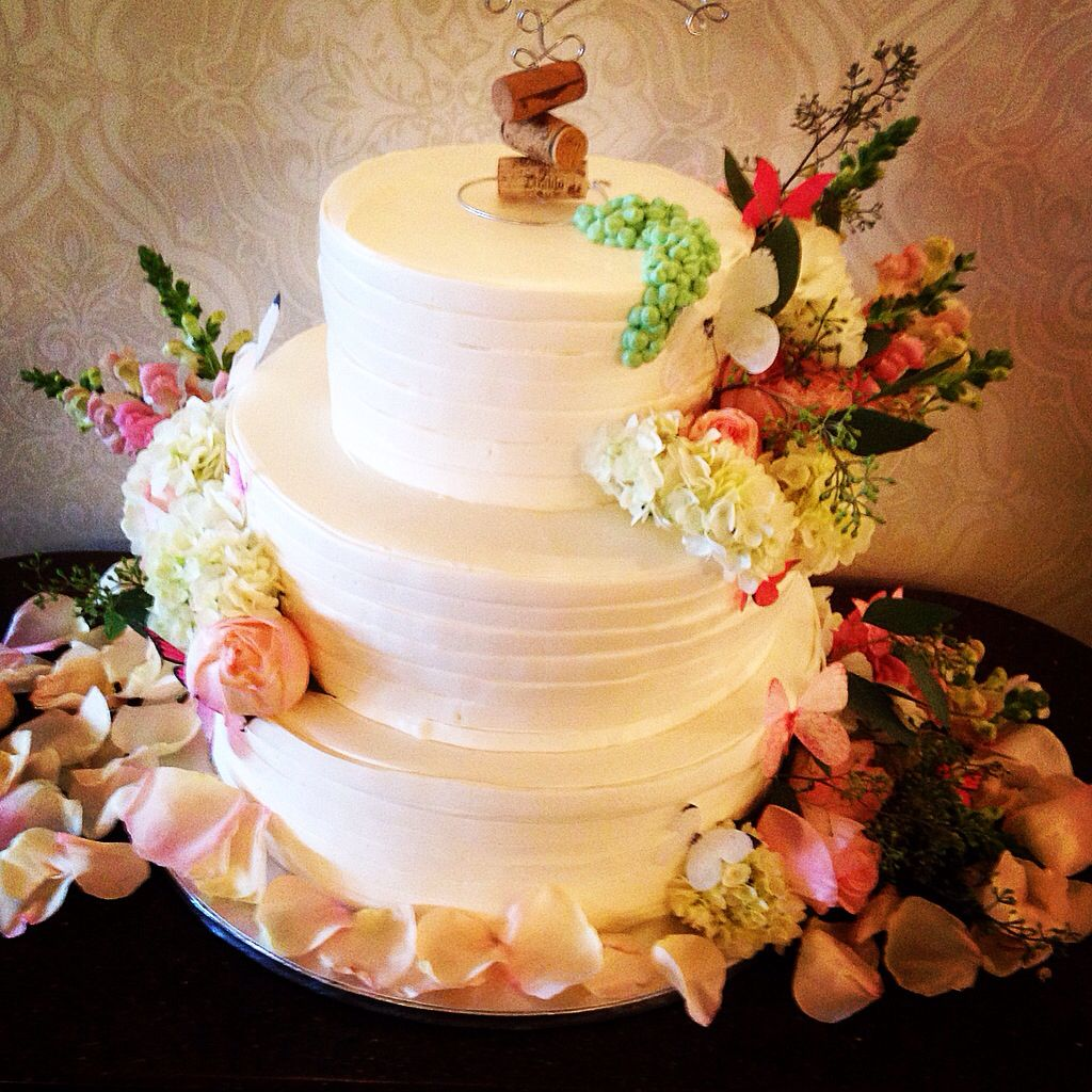 Wedding banded 3tiered cake with a personalized wine inspired topper ...