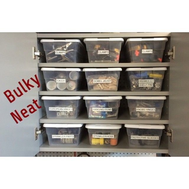 My smart husband shows how shoe boxes help keep those bulky garage items neat and easy to find.  Shelving is great to have, BUT even just putting things in labeled boxes will really make a difference! #organized #organizingwithtracy #garageorganization #garage #Padgram