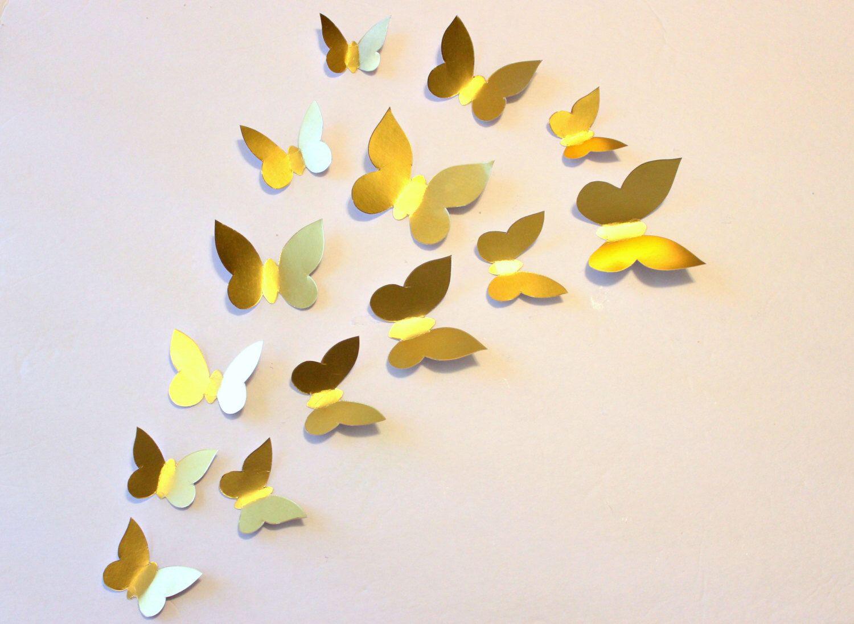 Gold Wall decor - Butterfly wall decal - Paper Butterflies - 3d ...