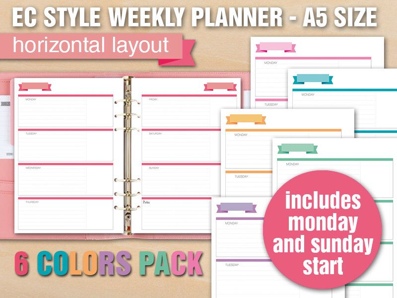 Erin Condren style printable weekly planner - A5 size - HORIZONTAL - printable weekly planner