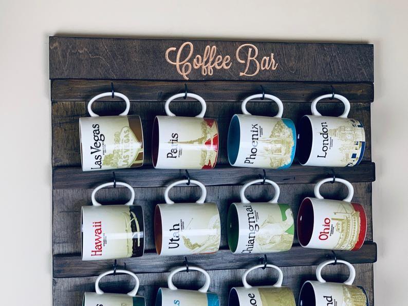 Personalized Wall Mounted Coffee Mug holder, Coffee Cup Mug Rack, Coffee Mug Display, Mug Cup Shelf Storage, Starbucks, Rae Dunn