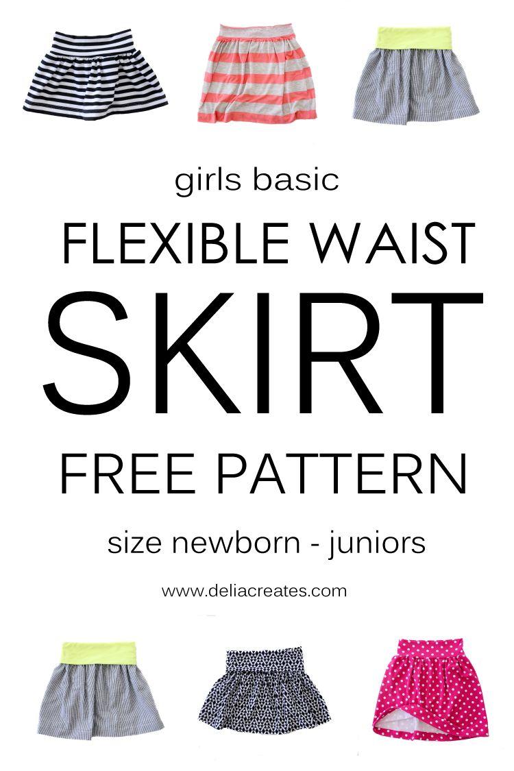 Girls Basic Flexible Waist Skirt - FREE PATTERN | Pinterest ...
