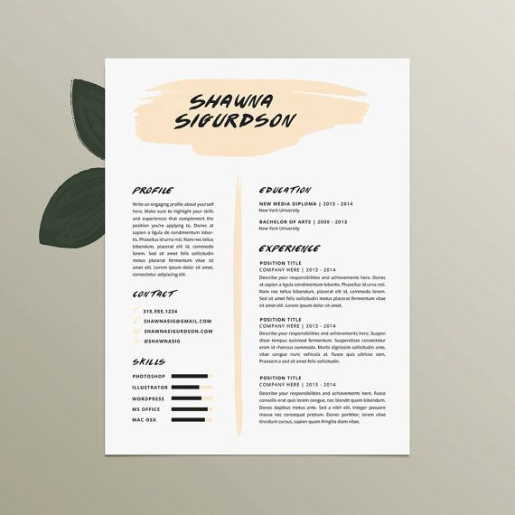Resume Template and Cover Letter Template for Word | Digital Instant ...