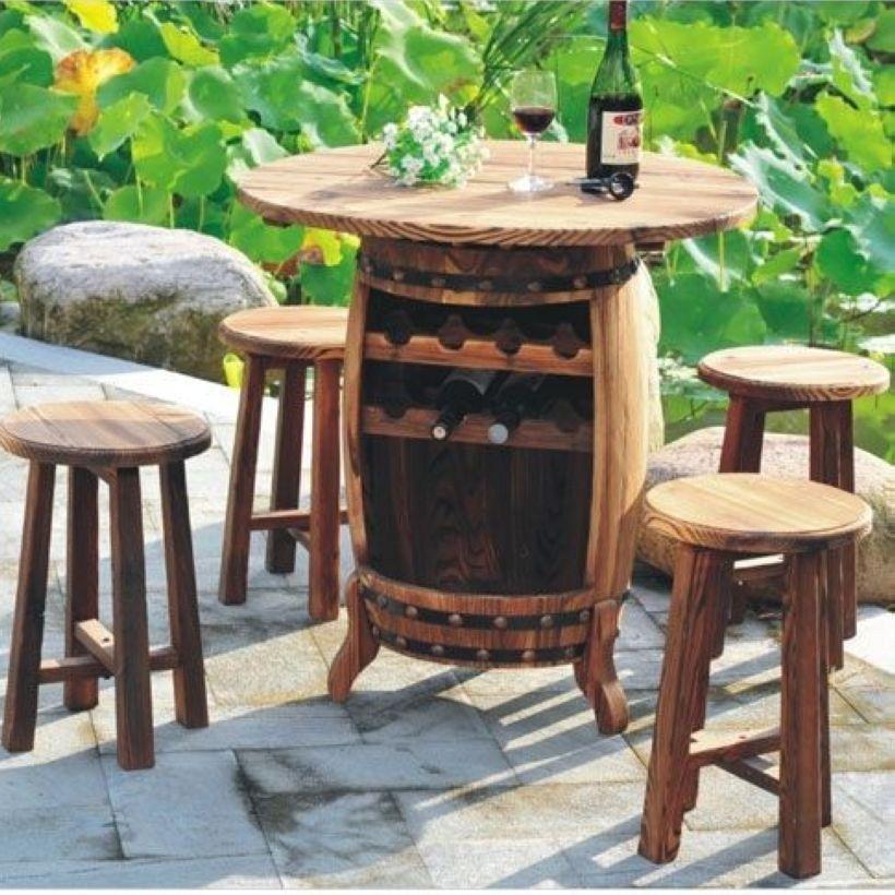 Mini Bar Wine Barrel Table, Outdoor Mini Bar Furniture
