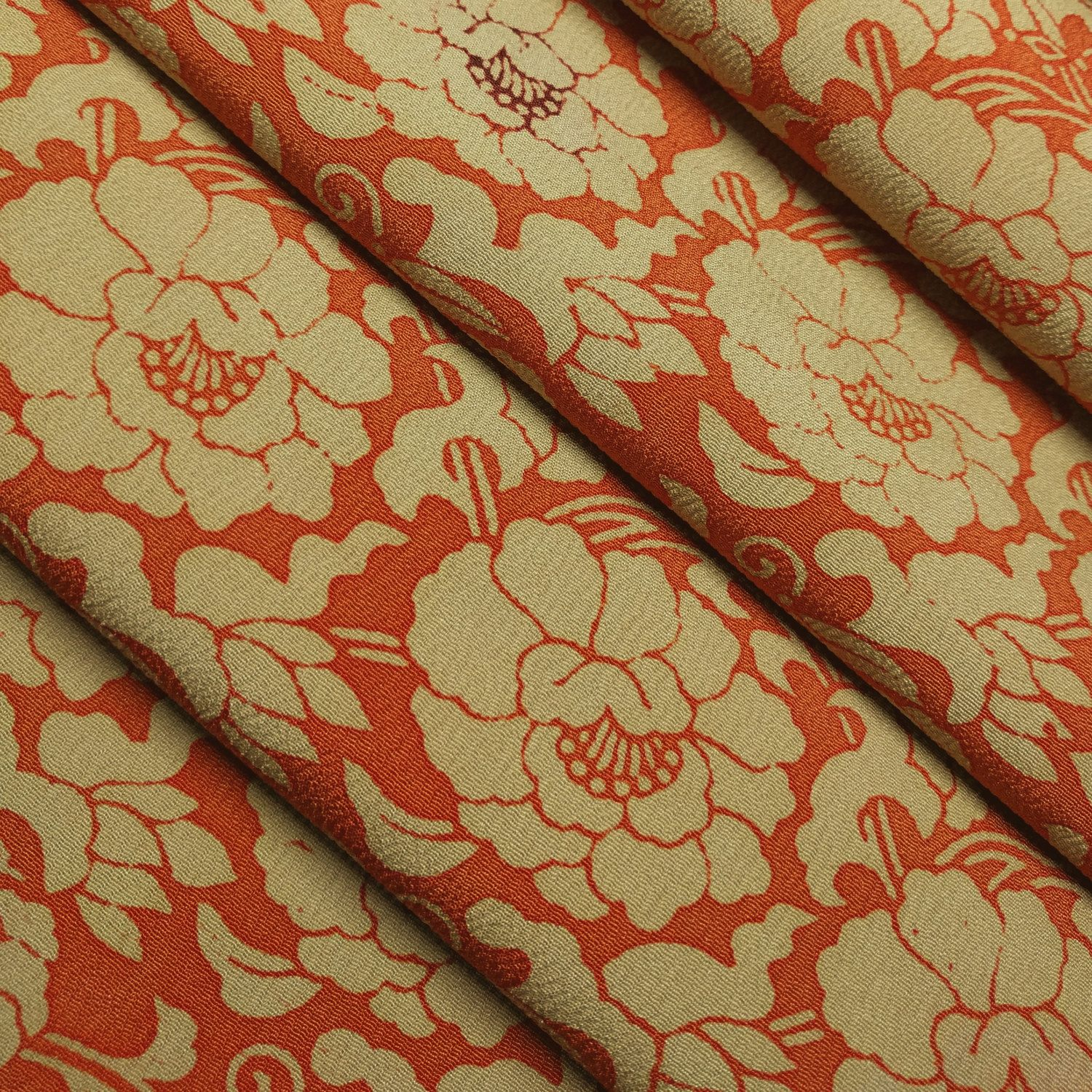 Special Order For Lm Chirimen Crepe Silk Kimono Fabric Red Etsy Kimono Fabric Fabric Silk Kimono