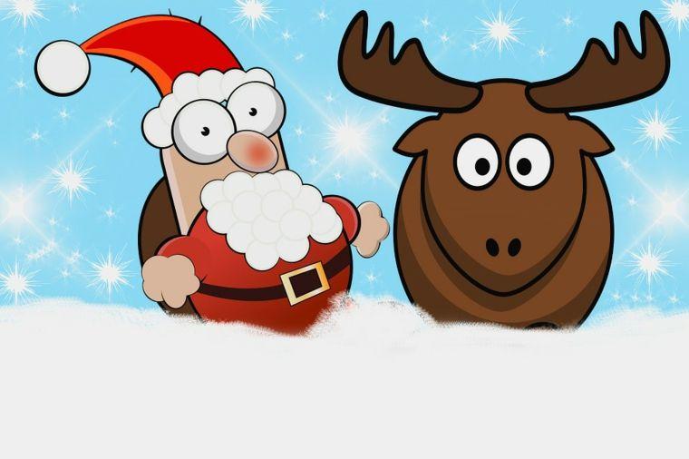 Una Renna E Un Babbo Natale Con L Espressione Buffa Facili