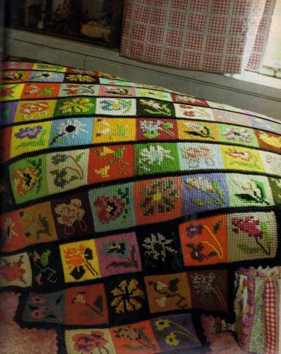 Vintage Crochet Pattern Embroidered Patchwork Bedspread | maõs que ...