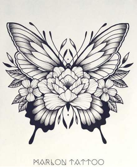 Flowers Tattoo Drawing Butterflies 31 Ideas