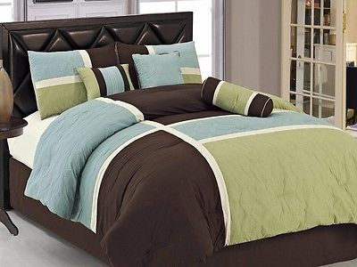 Chezmoi Collection 7pcs Brown Blue Green Quilted Patchwork Comforter Set Queen Comforter Sets Bedding Sets Queen Comforter Sets