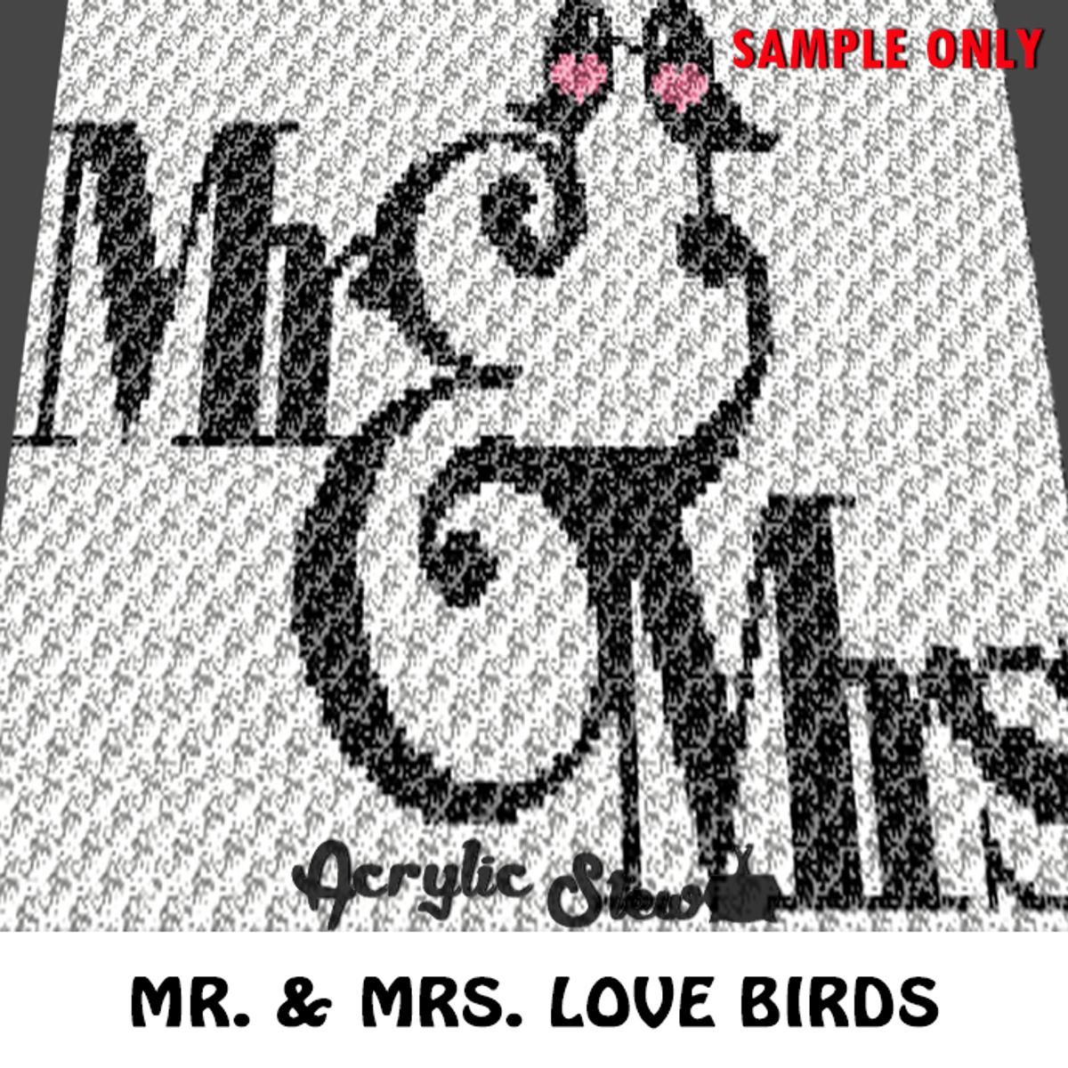 Mr & Mrs Wedding Love Birds (sc tss c2c)