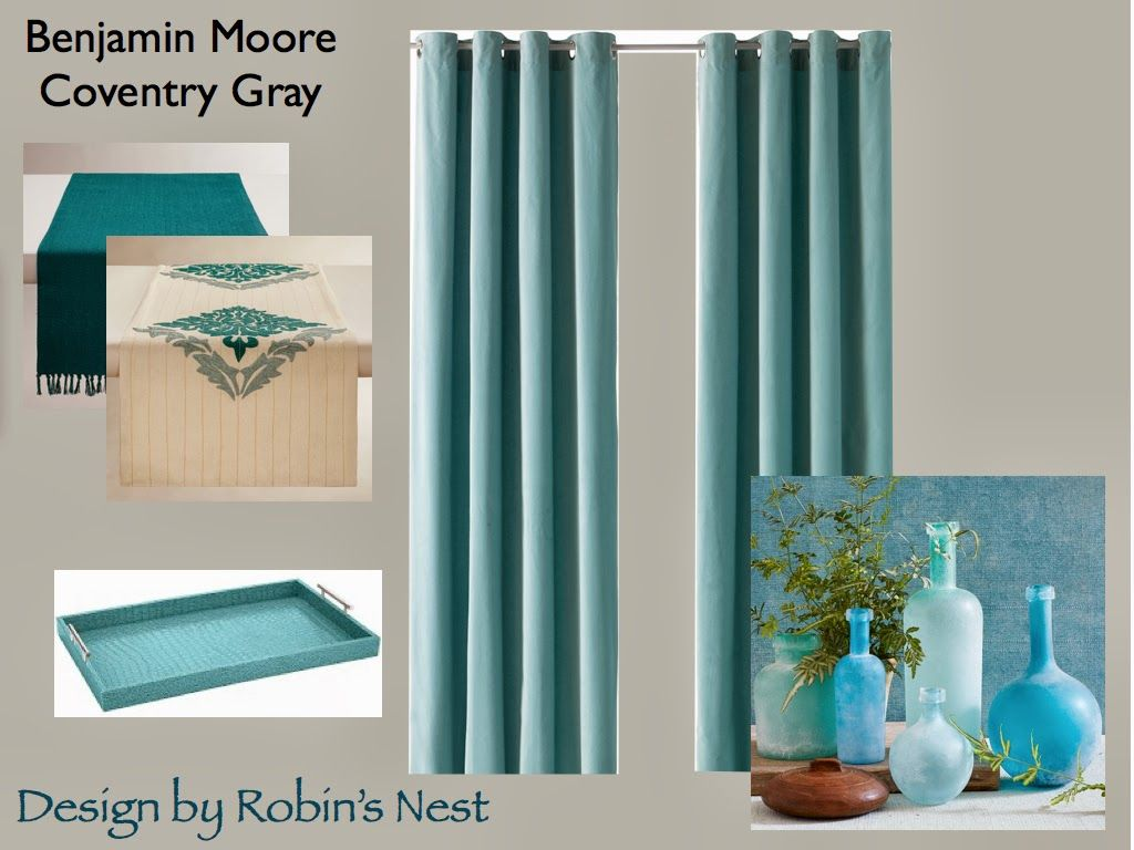 Mini Dining Room Makeover With Benjamin Moore Coventry Gray World Market Table Runners Tray West Elm Sea Gl Bottles Ikea Aqua Velvet Curtains