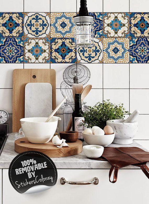 Orientalische Damast Kachel Aufkleber, Packung mit 24, ethnisch, abnehmbare, traditionellen Kachel Aufkleber, marokkanisch #8T #setinstains