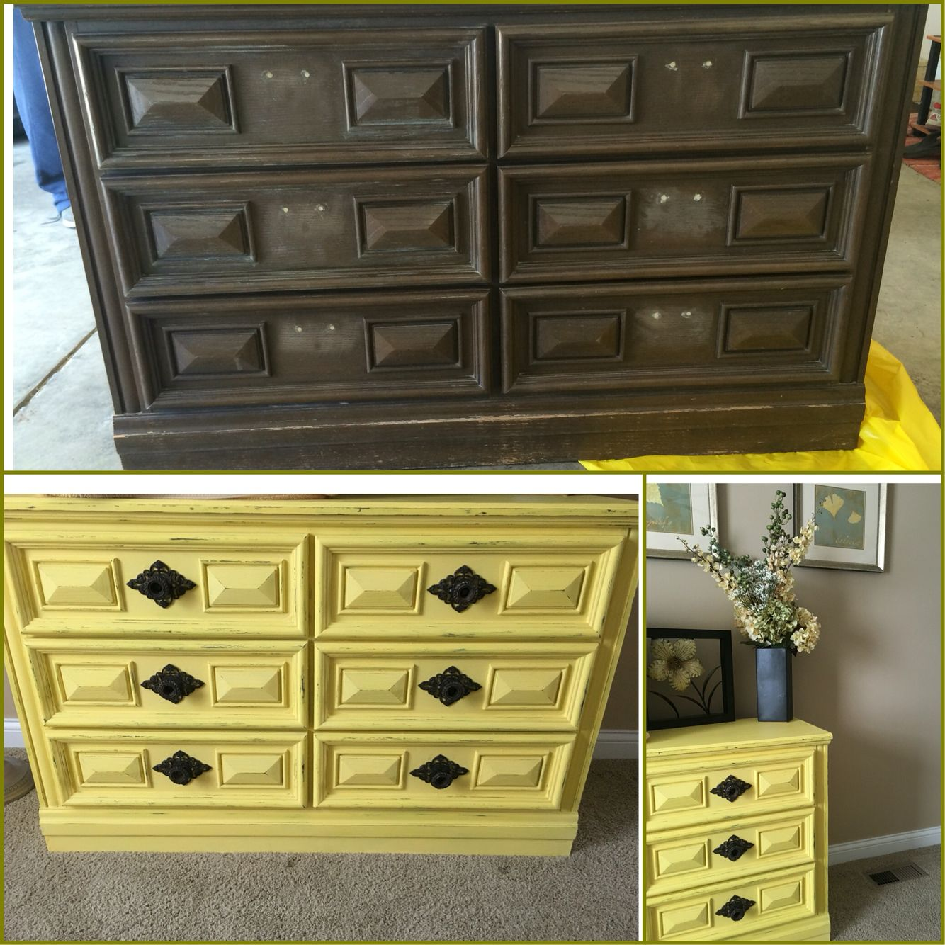 Before & After  Valspar Chalk Paint from Lowes, new handles from Hobby Lobby. #homestagingavantapres
