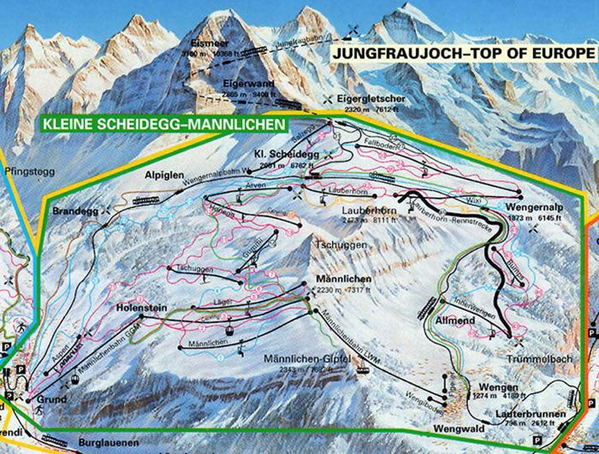 wengen switzerland trail map Grindelwald Wengen Mrren