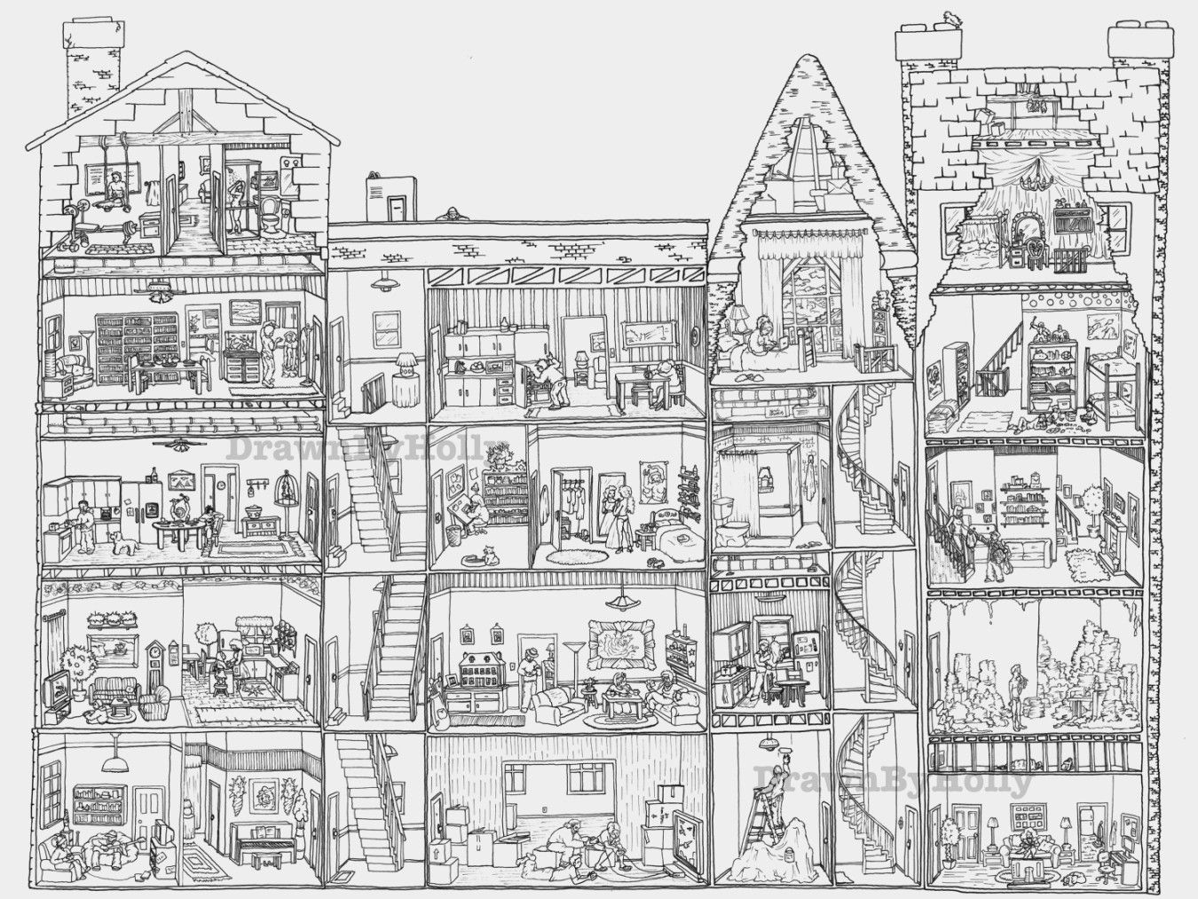 10 Images Of Buildings Coloring Pages Adult Coloring Pages Color