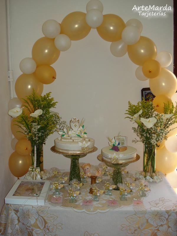 Decoración globos primera comunión - Imagui Comunión laura - imagenes de decoracion con globos