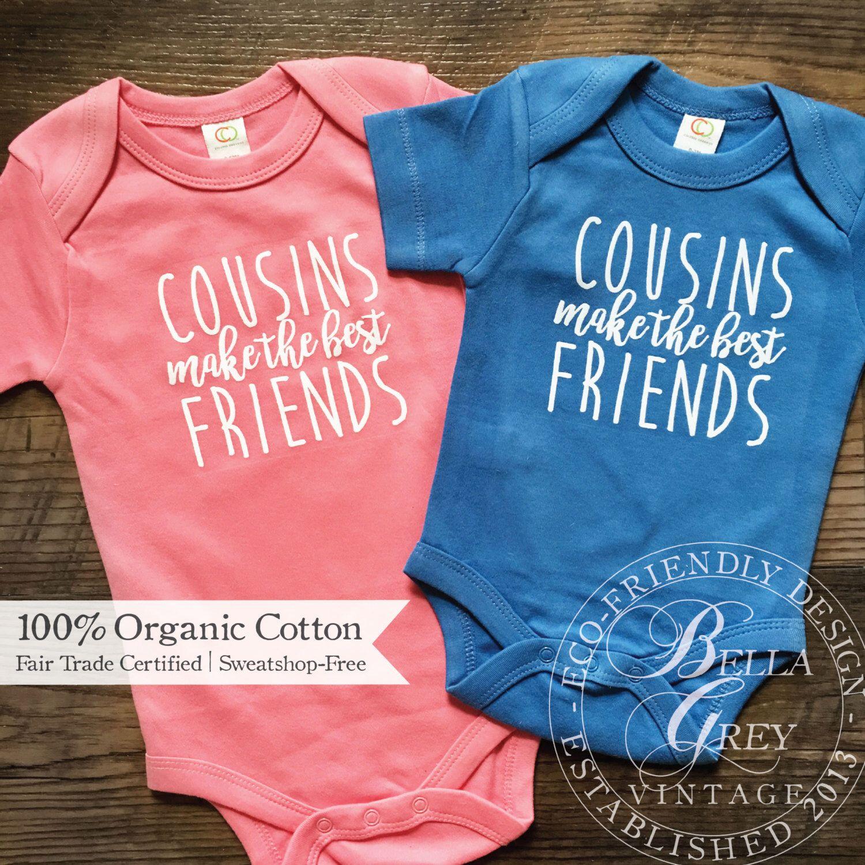 Cousins make the best friends Cousin Pregnancy announcement baby vest.