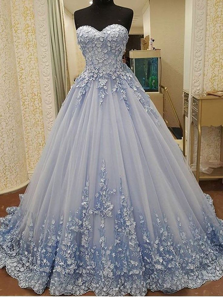 Ball Gown Sweetheart Floor-Length Blue Tulle Appliques Quinceanera ...