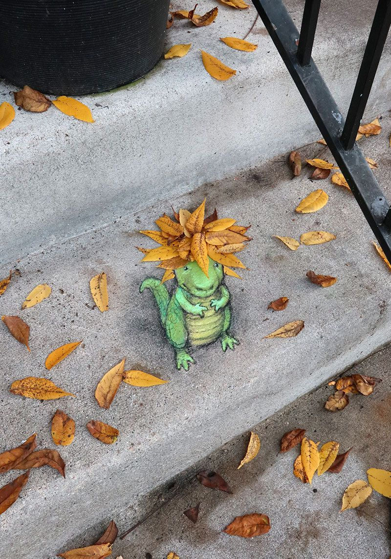 Autumn Is The Perfect Time To Add Some Extra Color To Your Coiffure New Art 10 2018 David Zinn Street Art Street Art Graffiti
