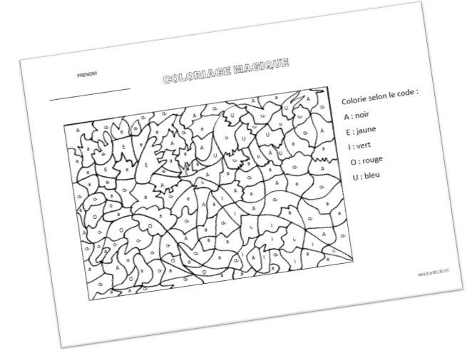 Coloriage Magique Les 3 écritures Des Voyelles Education Evaluation
