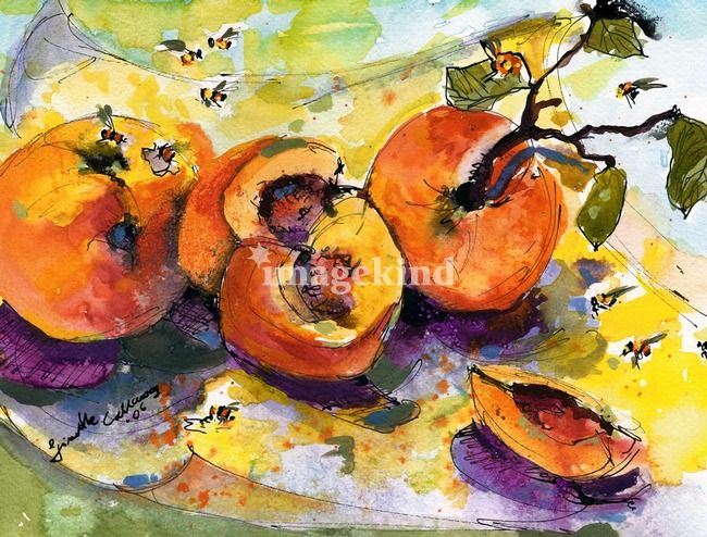 Peaches & Bees Painting by Ginette Callaway | Ginette Callaway