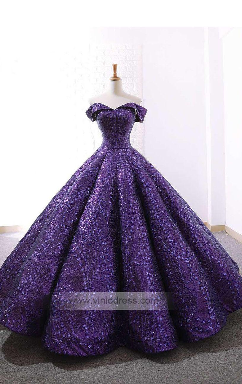 171c77871b97 Purple off the shoulder lace prom dresses. Vintage sparkly lace ball gown  princess dress.