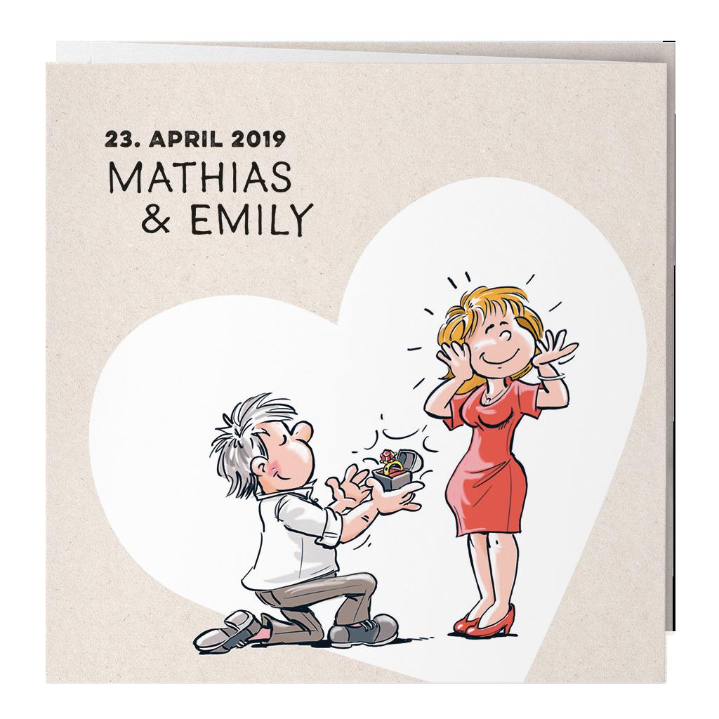 Witzige Leporello Hochzeitskarte Mit Heiratsantrag Mann Auf Knie Und