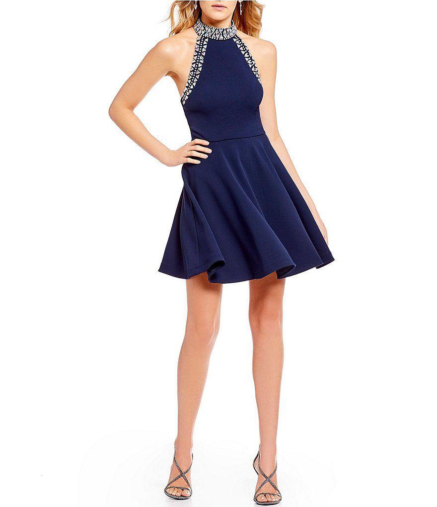 1697766aec2c B. Darlin Jewel-Trimmed Mock Neck Fit-And-Flare Dress | Dillard's