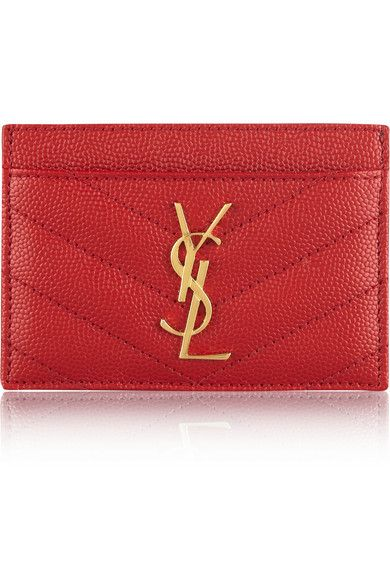 SAINT LAURENT Monogramme quilted textured-leather cardholder  24f58ed058