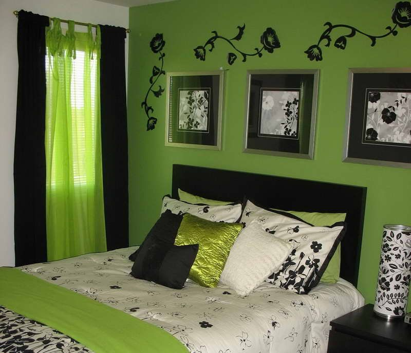 lime green bedroom designs with green cushions - Green Bedroom Decorating Ideas