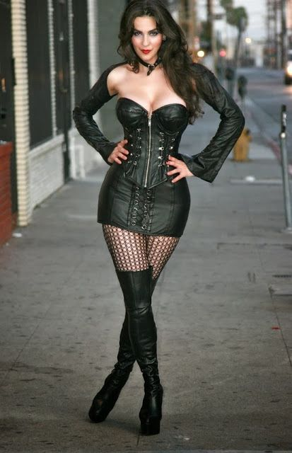 Leather outfit with long boots | Fashionable outfits | Pinterest | Long boots Leather and Corset