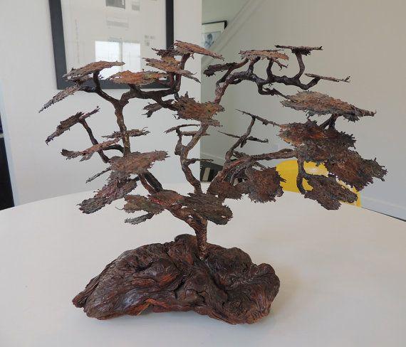 Mid Century brutalist metal bonsai sculpture by plastolux on Etsy