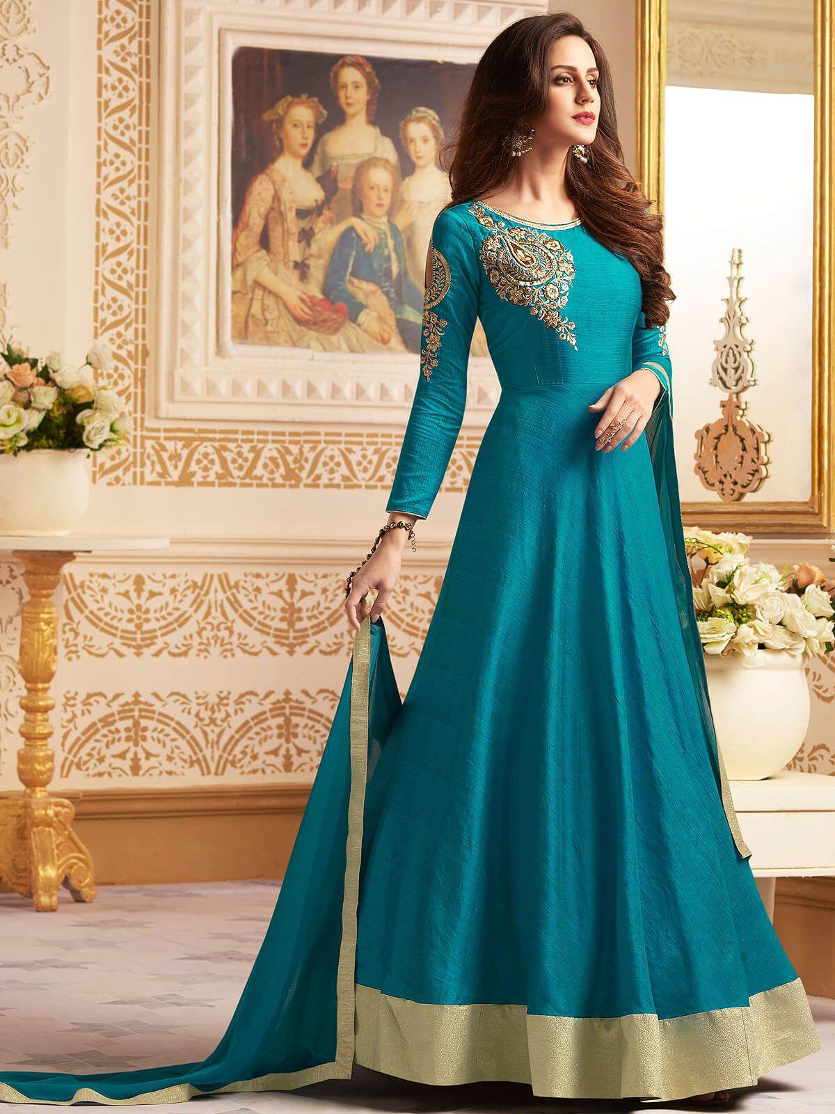 Suave blue santoon wedding wear anarkali suit. Having fabric santoon ...