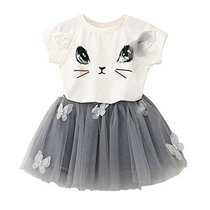 Puseky Baby Girl Cute Cat T-shirt 1-2 Years, White+Grey Butterfly Mesh Bubble Skirt Kids Clothes Set