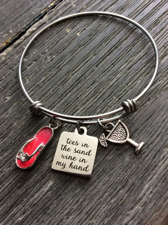 Beach Bangle Friendship Gift Girlfriend Insprational Birthday Wife Sister G