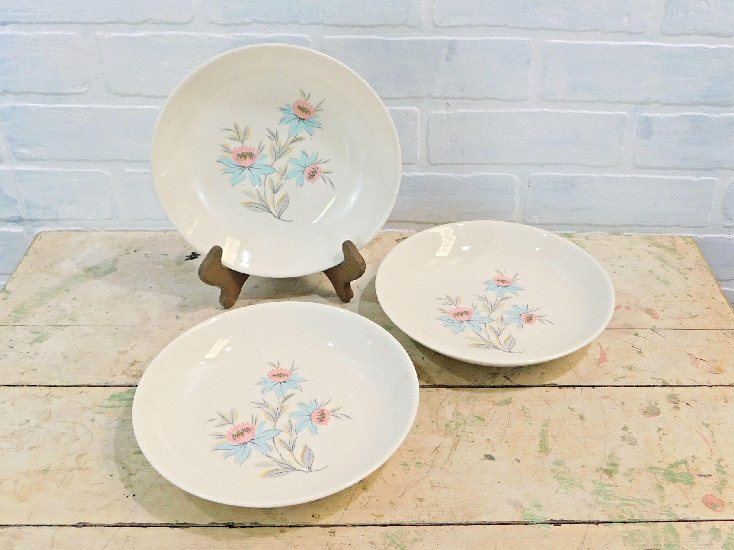 Steubenville Pottery Fairlane Pattern, 3 Soup, Salad, Cereal Bowls, Vintage