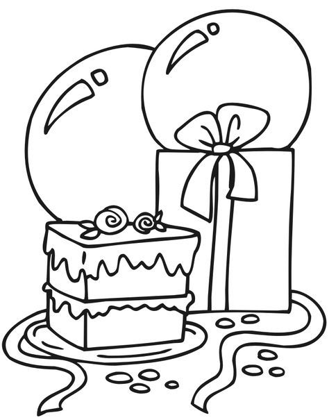 Birthday Coloring Page Cake Present And Balloons Birthday