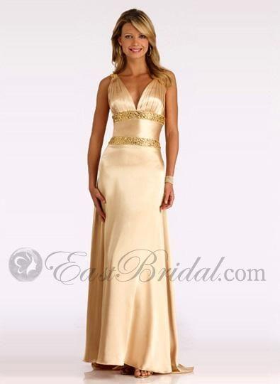 Gold Bridesmaid Dresses A Line V Neckline Silk Satin