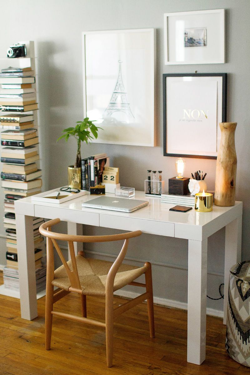 How To Style A West Elm Parsons Desk // White Lacquer // Neutral // Gold //  White // Black // Grey Walls // Home Office Space // Photography By  Danielle ...