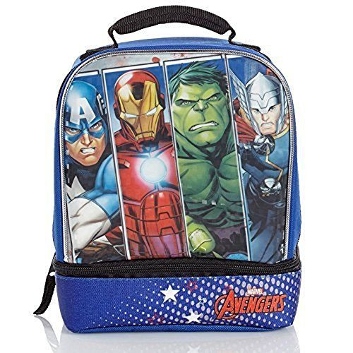 Avengers Spiderman Iron Man School Thermos Insulated Lunch Box Bag snack food