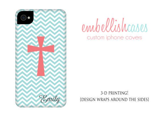iPhone 5s case, iphone 5 case, monogrammed personalized with your name or initials, coral and teal chevron cross christian case