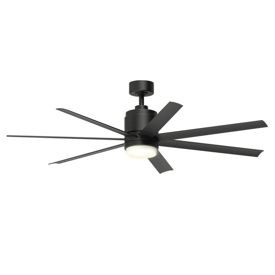 Fanimation Studio Collection Blitz 56 In Black Integrated Led Indoor Outdoor Downrod Mount Ceiling