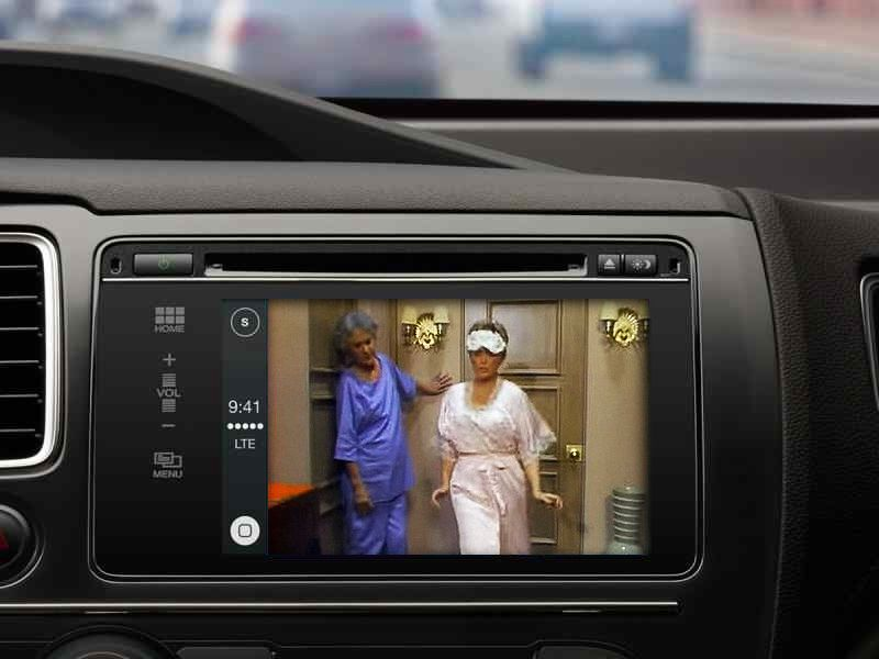 tv in car. car dashboard tv, for traffic jams and when waiting in the tv e