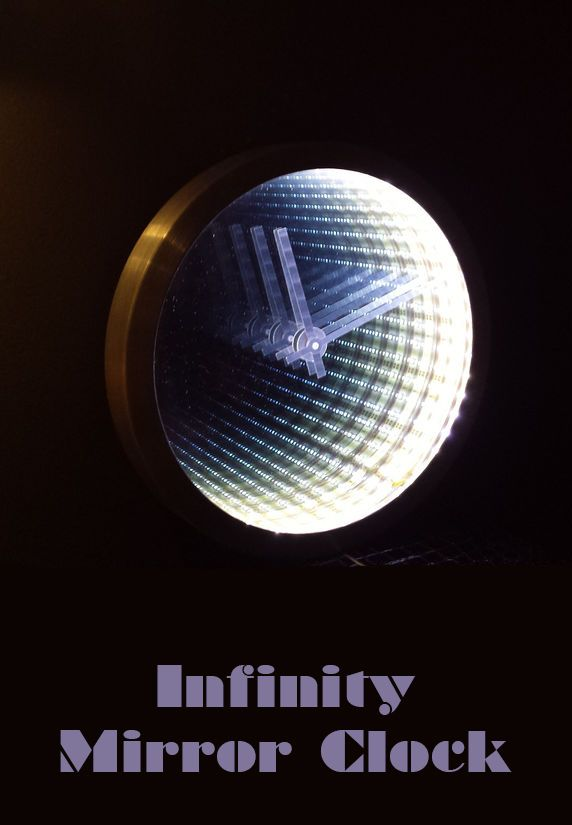 infinity mirror clock making electronics projects pinterest horloge mouvement perp tuel. Black Bedroom Furniture Sets. Home Design Ideas