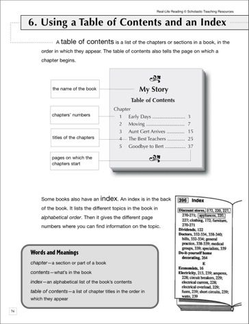 Using A Table Of Contents And An Index Life Skills Practice Life Skills Skills Practice Teaching Ela