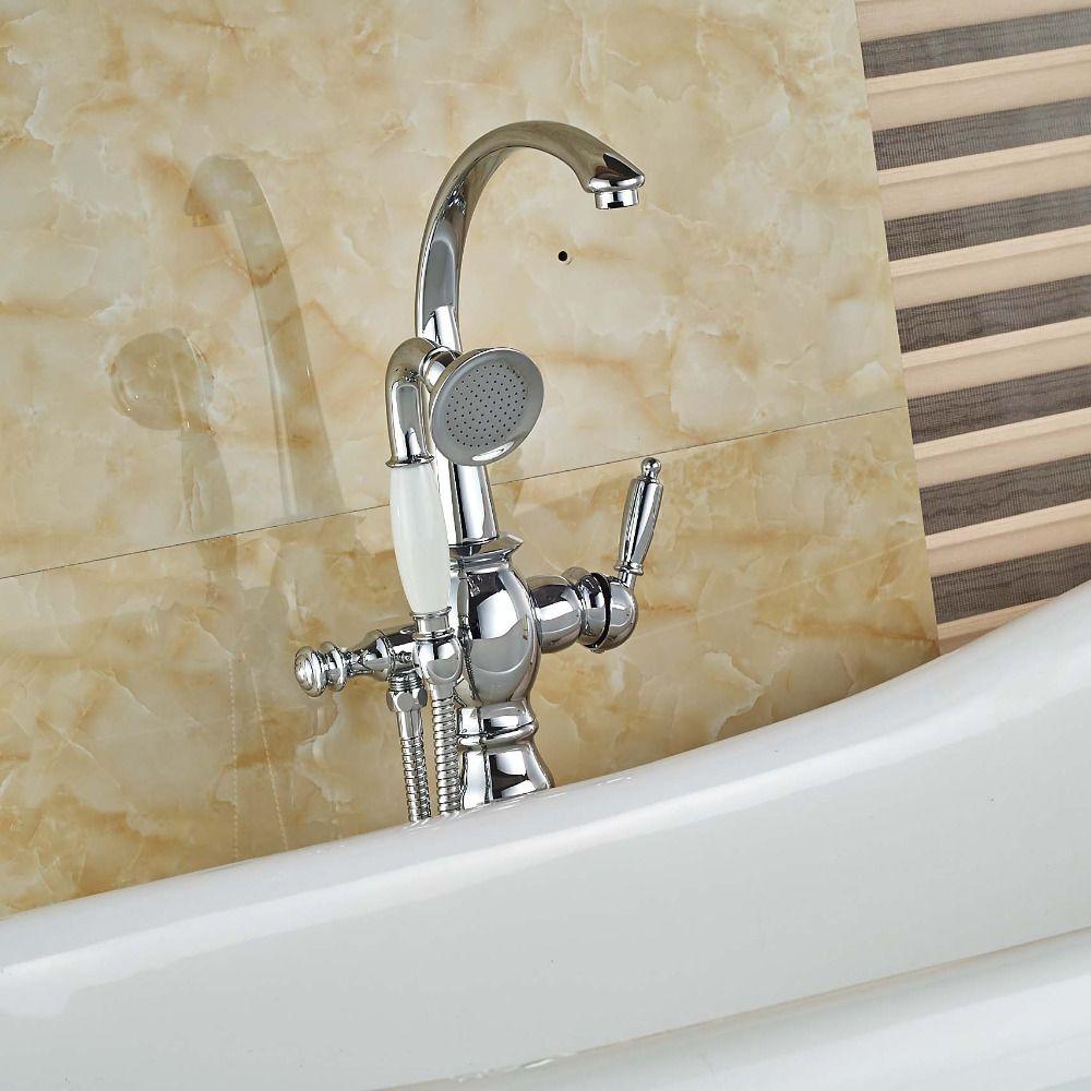 Chrome Brass Bathroom Tub Faucet Neck Goose Spout Tub Filler Cold ...